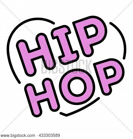 Love Heart Hip Hop Icon. Outline Love Heart Hip Hop Vector Icon Color Flat Isolated