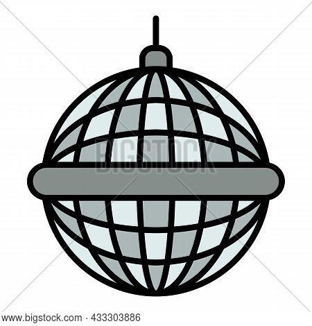Disco Mirror Ball Icon. Outline Disco Mirror Ball Vector Icon Color Flat Isolated