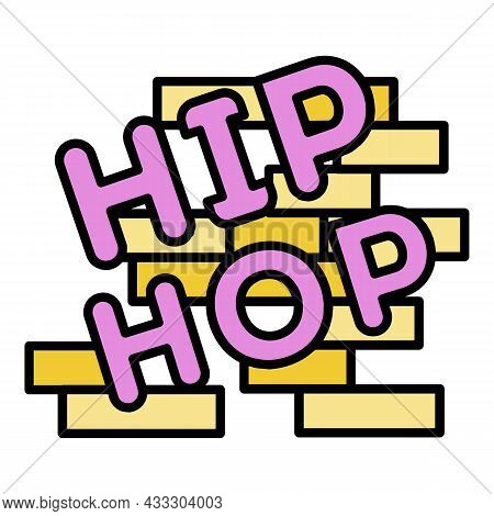Hip Hop On Brick Wall Icon. Outline Hip Hop On Brick Wall Vector Icon Color Flat Isolated