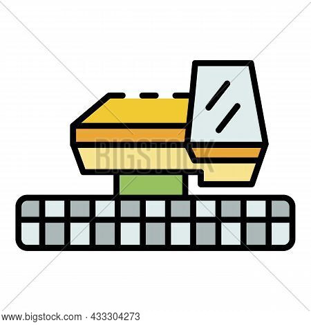 Front Combine Harvester Icon. Outline Front Combine Harvester Vector Icon Color Flat Isolated