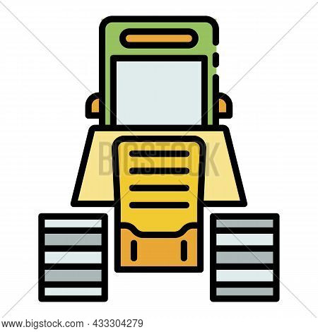 Tractor Excavator Icon. Outline Tractor Excavator Vector Icon Color Flat Isolated