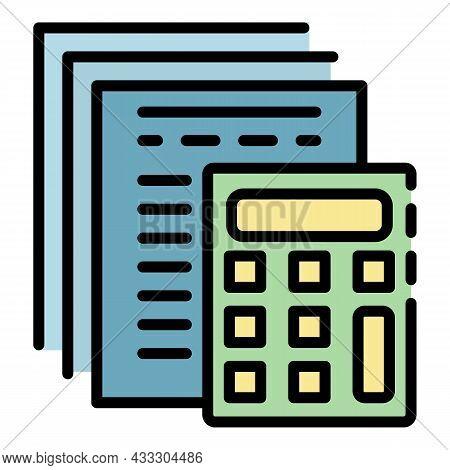 Finance Calculator Report Icon. Outline Finance Calculator Report Vector Icon Color Flat Isolated