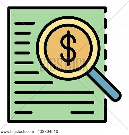 Money Finance Search Icon. Outline Money Finance Search Vector Icon Color Flat Isolated