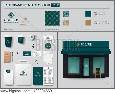 Cafe And Showcase Brand Identity Template Design Set. Vintage Style.