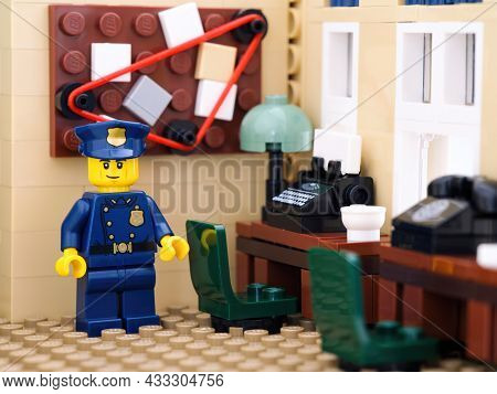 Tambov, Russian Federation - August 02, 2021  Lego Police Officer In Police Station