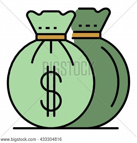 Invest Money Bag Icon. Outline Invest Money Bag Vector Icon Color Flat Isolated