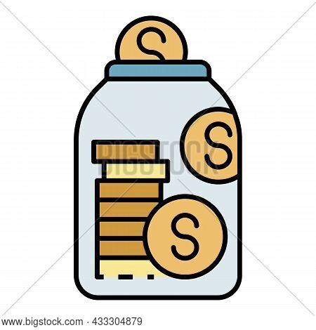 Deposit Money Jar Icon. Outline Deposit Money Jar Vector Icon Color Flat Isolated