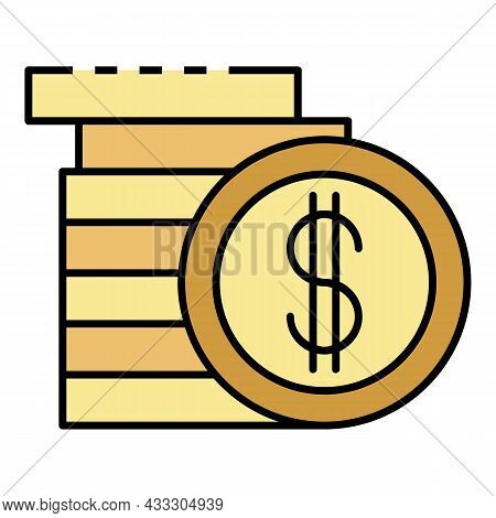 Money Stack Coin Icon. Outline Money Stack Coin Vector Icon Color Flat Isolated