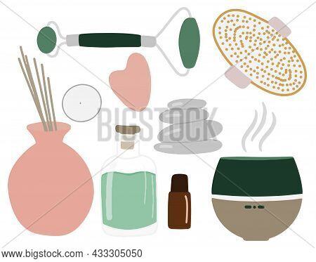 Collection Of Elements For Aromatherapy, Diffuser, Aroma Lamp, Set Of Beauty Art, Massagers For Face