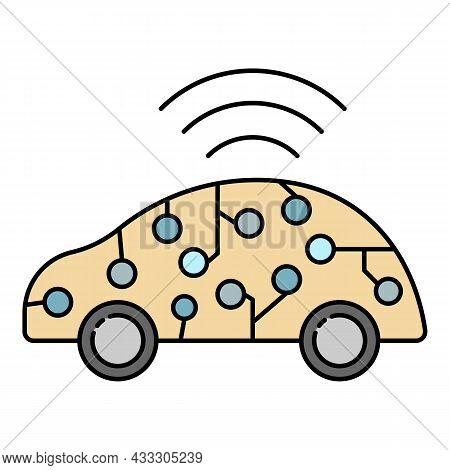 Ai Smart Car Icon. Outline Ai Smart Car Vector Icon Color Flat Isolated