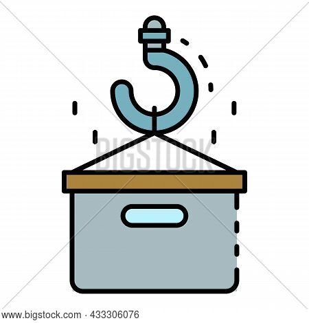 Crane Parcel Take Icon. Outline Crane Parcel Take Vector Icon Color Flat Isolated