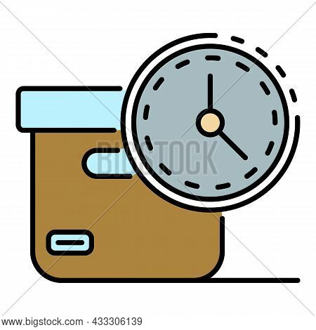 Fast Parcel Delivery Icon. Outline Fast Parcel Delivery Vector Icon Color Flat Isolated