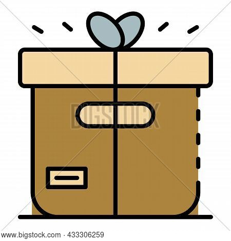 Delivery Parcel Icon. Outline Delivery Parcel Vector Icon Color Flat Isolated
