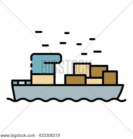 Marine Parcel Delivery Icon. Outline Marine Parcel Delivery Vector Icon Color Flat Isolated