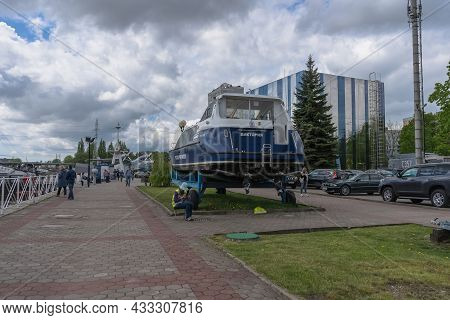 Kaliningrad, Russia - May 14, 2021: Old Port Embankment With Different Exhibits And Promenade Area