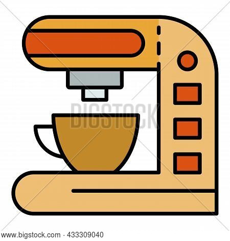 Electric Coffee Maker Icon. Outline Electric Coffee Maker Vector Icon Color Flat Isolated
