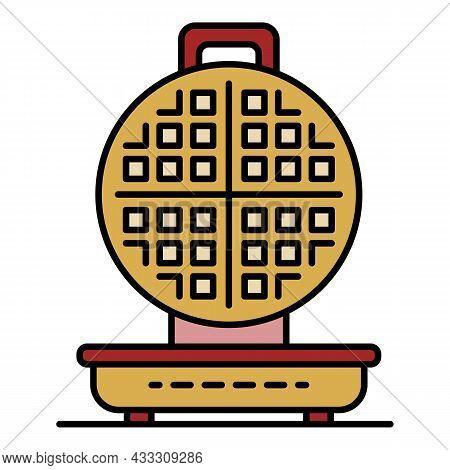 Kitchen Waffle-iron Icon. Outline Kitchen Waffle-iron Vector Icon Color Flat Isolated