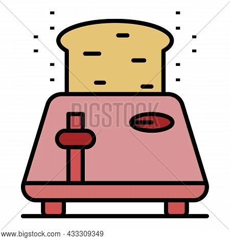 Bread Toaster Icon. Outline Bread Toaster Vector Icon Color Flat Isolated