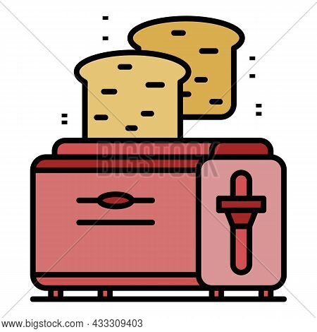 Kitchen Toaster Icon. Outline Kitchen Toaster Vector Icon Color Flat Isolated