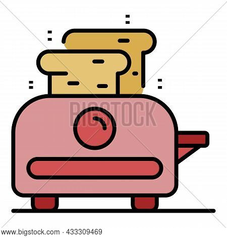 House Toaster Icon. Outline House Toaster Vector Icon Color Flat Isolated