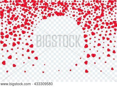 Tender Confetti Background Transparent Vector. February Frame Heart. Pink Volume Pattern. Fond Heart