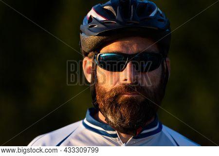 close up portrait of cyclist man