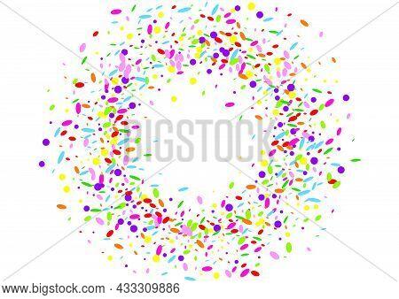 Orange Round Background White Vector. Dot Decor Card. Celebration Template. Yellow Geometric Graphic