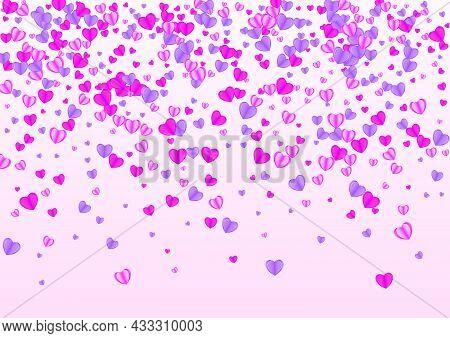 Lilac Heart Background Pink Vector. Cut Backdrop Confetti. Fond Romantic Pattern. Purple Confetti Fe