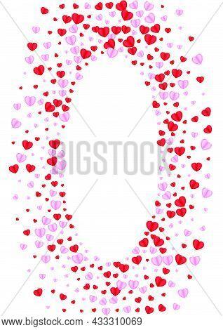 Violet Heart Background White Vector. Color Pattern Confetti. Fond Drop Backdrop. Red Heart Celebrat