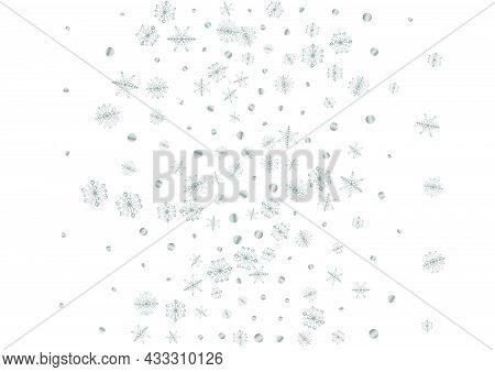 Metal Confetti Background White Vector. Dot Flying Card. Luminous Flake Wintry. Grey Sparkle Pattern