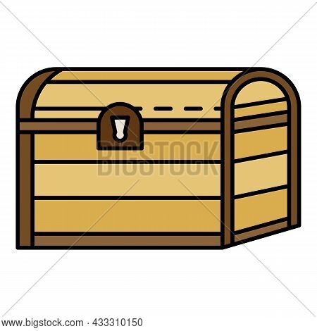 Pirate Dower Chest Icon. Outline Pirate Dower Chest Vector Icon Color Flat Isolated