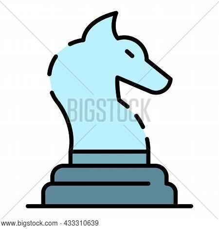 Horse Chess Piece Icon. Outline Horse Chess Piece Vector Icon Color Flat Isolated