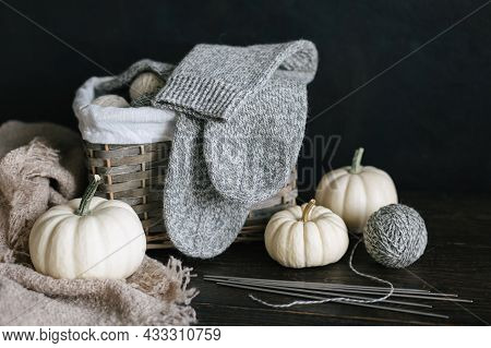 Hand Knitting Socks With Needles, Yarn Balls And Pumpkins On A Dark Wooden Background.  Concept For