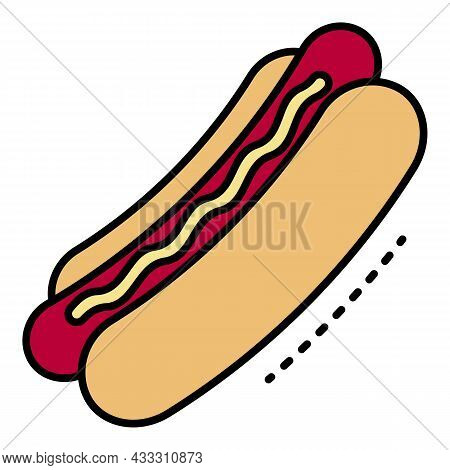 Fresh Hot Dog Icon. Outline Fresh Hot Dog Vector Icon Color Flat Isolated