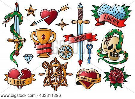 Retro Tattooing Rose, Knife, Heart, Skull Old School Symbols. Vintage Tattoo Engraving Elements Isol