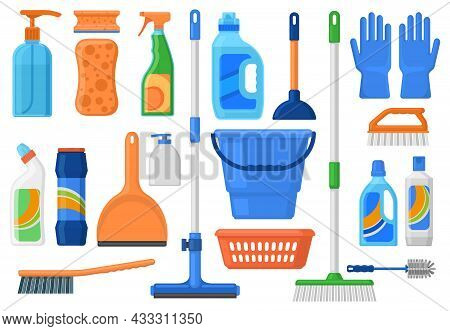 Household Supplies, Cleaning Services Tools And Detergent Bottles. Cleaning Supplies, Detergents, Br