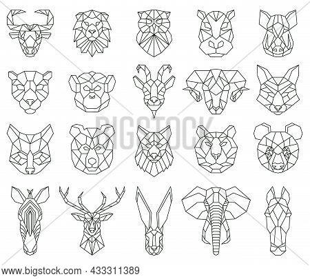 Polygonal Geometric Linear Animal Fox, Deer, Bear Portraits. Animals Heads, Owl, Lion, Zebra And Mon