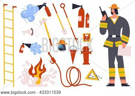 Firefighter, Fireman Character With Fire Fighting Equipment Tools. Fireman In Uniform With Fire Hose