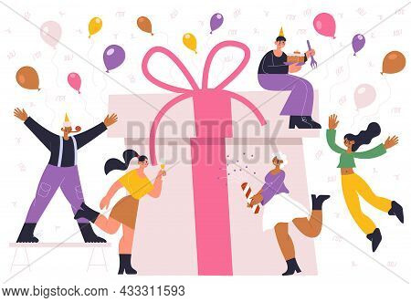 Birthday Party Holiday Celebrating People And Huge Gift Box. Your Joyful Celebrating People With Con