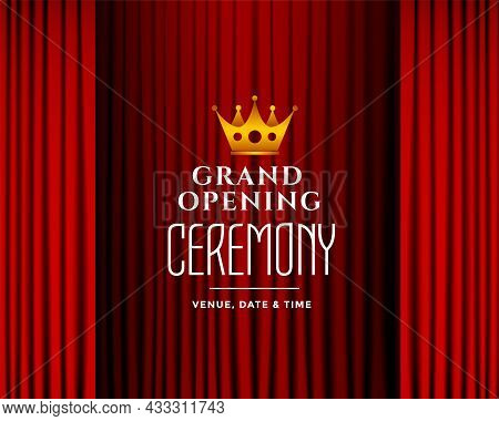 Grand Opening Ceremony Background With Red Curtains Vector Design Illustration