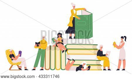 Reading Book Lover Characters Read Paper Books. People Reading Literature With Huge Book Pile, Readi
