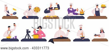 Restaurant Chefs, Cooks, Food Bloggers Cooking Dishes. Restaurant Chefs, Food Bloggers, Culinary Sho