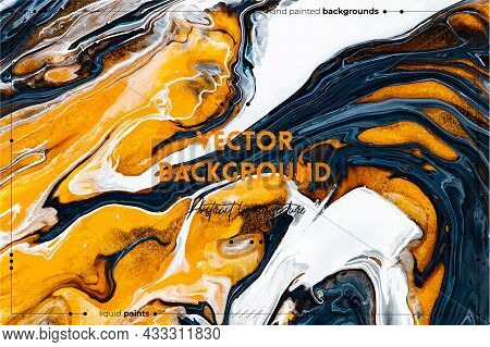 Fluid Art Texture. Backdrop With Abstract Swirling Paint Effect. Liquid Acrylic Artwork With Flows A