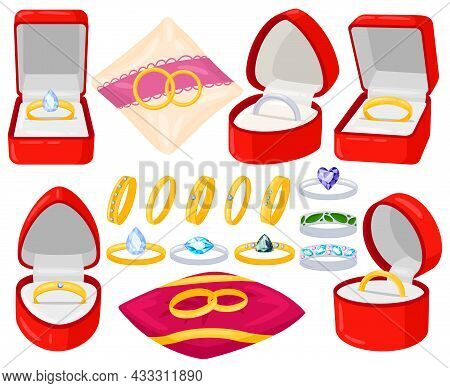 Cartoon Wedding Engagement Jewel Golden And Silver Rings. Marriage Proposal, Bride And Groom Rings I