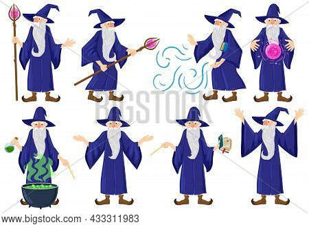 Cartoon Fairy Tale Medieval Wizard, Magician Character. Old Magician, Warlock, Witchcraft Male Fairy