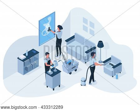 Isometric Professional House Cleaning Service Team At Work. Cleaning Service Employees Clean, Wash A