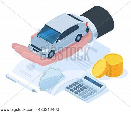Isometric Car Protection Insurance, Money Guarantee Concept. Car Insurance Risk Protection, Auto Ins