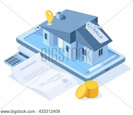 Isometric Buying Dream House Concept, Real Estate Agency Service. Real Estate Property Purchase, Swe
