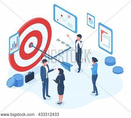 Isometric Business Goal Successful Achievement Characters. Business Office Team Goals Achievement Sh