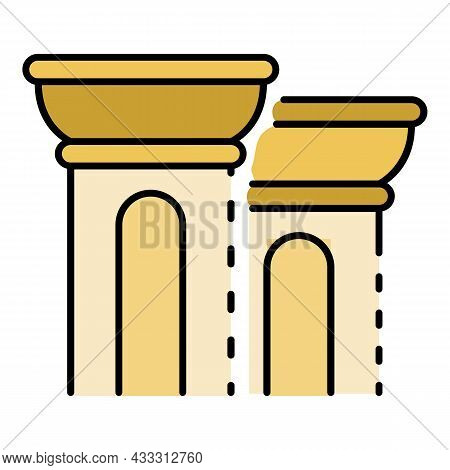 Greek Column Icon. Outline Greek Column Vector Icon Color Flat Isolated